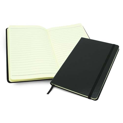 Black Vellum A5 Casebound Notebook With An Elastic Strap, Black