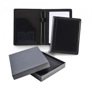 Ascot Leather A5 Conference Folder, black