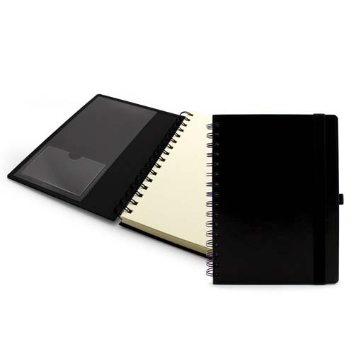 A5 Wiro Notebook With Elastic Strap And  Pen Loop, Black