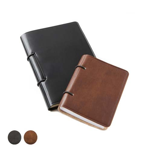 Richmond Deluxe Nappa Leather  A6 Journal, Black, Brown