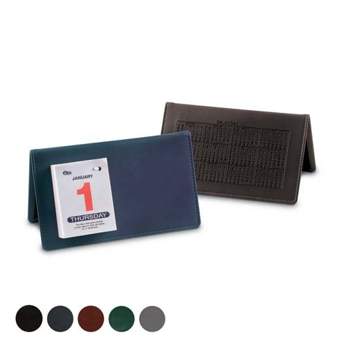 Hampton Leather  Desk Top Calendar, Black, Red, Green, Blue, Green