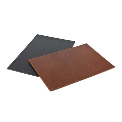 Large Richmond Leather Desk Pad, Black, Brown