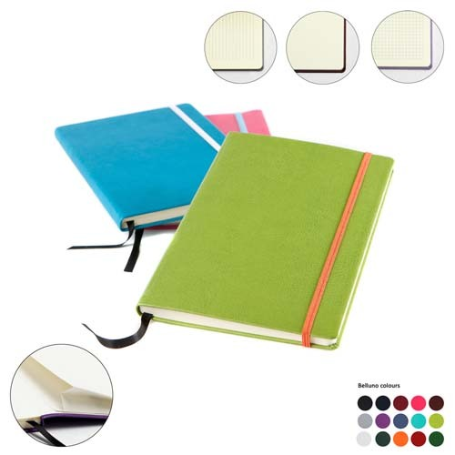 A5 Casebound Notebook With Edge Stitch Emboss, Elastic Strap, Envelope Pocket & Pen Loop In A Choice Of Belluno Colours, Black, Blue, Blue, Blue, Blue, Blue, Purple, Red, Red, Red, Pink, Pink, Yellow, Green, Green, Green, Green, Orange, White, Brown, Brown, Brown,