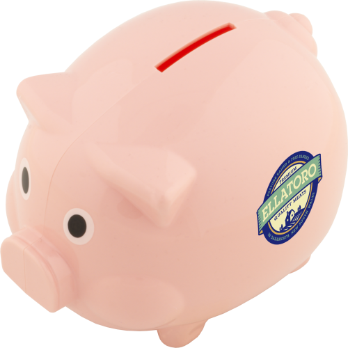 Piggy Bank (Spot Colour Print), Pink, White