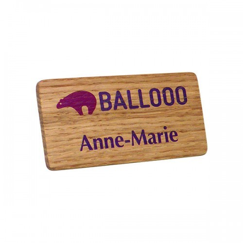 Real Wood Personalised Name Badge, brown, brown