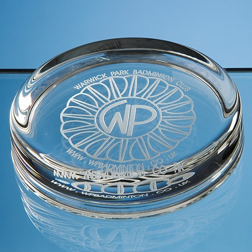 9Cm Round Glass Paperweight, Clear