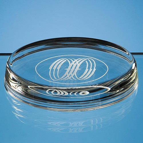 10Cm Oval Glass Paperweight, Clear