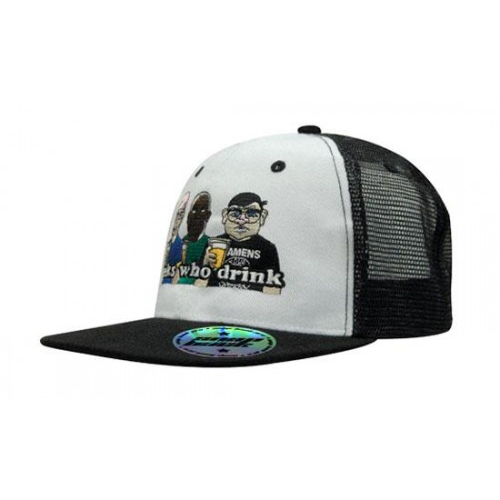 6 Panel Mesh Back Cap W/Flat Peak, Black, Blue, White, White, Black, White, Blue
