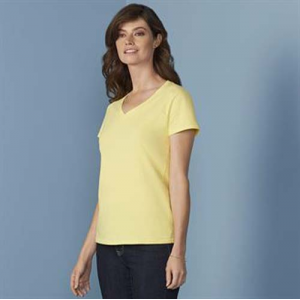 Gildan Women's Premium Cotton V-Neck T-Shirt, pink, black, yellow, pink, blue, blue, red, blue, blue, grey, white