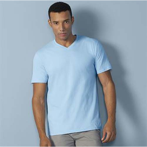 Gildan Premium Cotton V-Neck T-Shirt, black, black, yellow, pink, blue, blue, red, blue, blue, grey, white