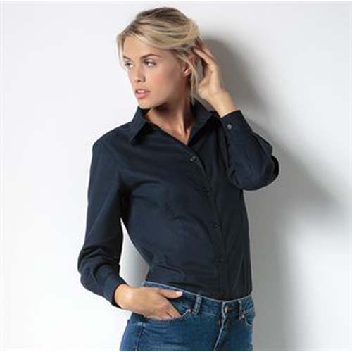 Women's workplace Oxford blouse long sleeved, Black, Blue, Blue, Red, White