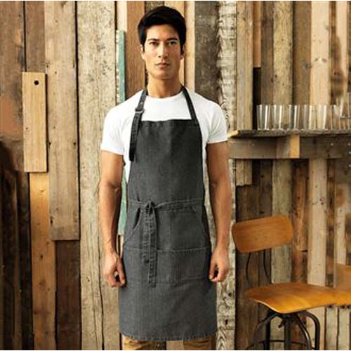 Jeans stitch bib apron, Black, Blue, Blue