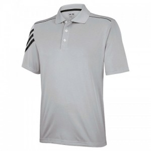 adidas ClimaCool 3 stripe polo, Grey, Black