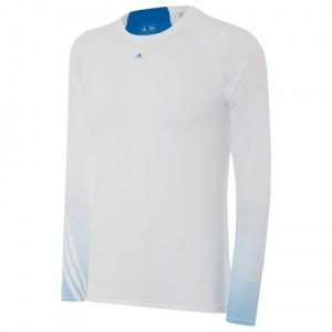 adidas 3 stripe gradient base layer, White, Blue