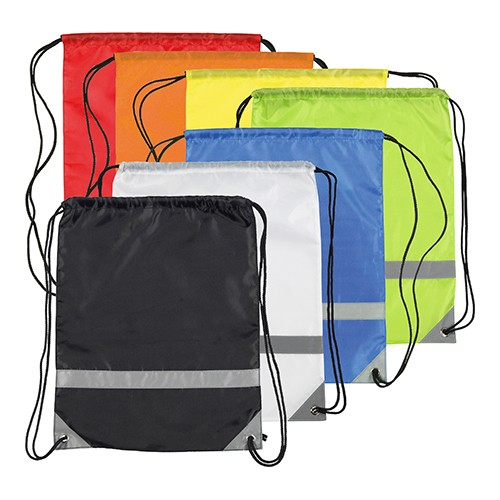 Knockholt Reflective Drawstring Bag, Black, Blue, Green, Orange, Red, White, Yellow