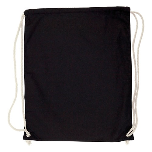 Greenhill 5oz Cotton Drawstring Bag With Natural Contrast Cords, Black, Natural