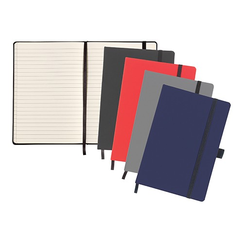 Larkfield' A5 Soft Feel Notebook, Black, Red, Grey, Blue