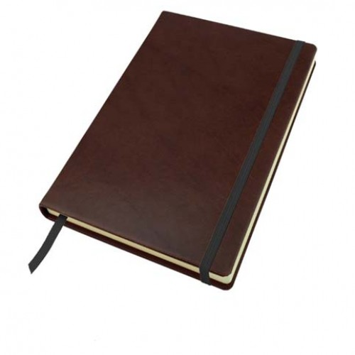 Richmond Deluxe Nappa Leather A5 Casebound Notebook With Elastic Strap And Envelope Pocket, Black, Brown